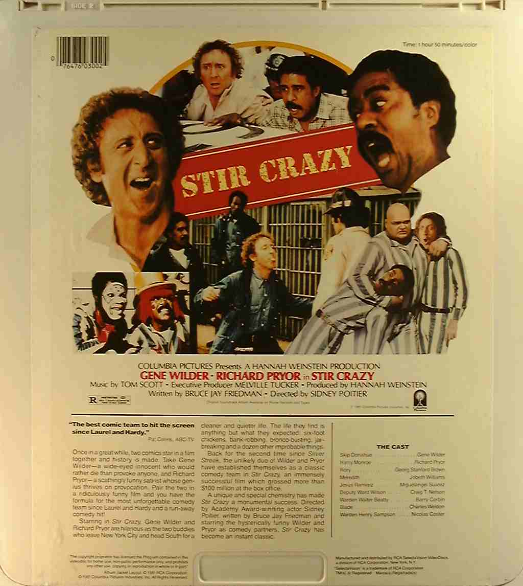 Stir Crazy {76476030025} C - Side 2 - CED Title - Blu-ray DVD Movie ...